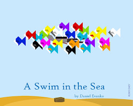 """Photo: """"A Swim in the Sea"""" was designed to be a digital counterpart to a origami mobile of the same name. The mobile featured an origami figure (of my own design) and a large collection of origami fish surrounding the figure."""