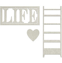 FabScraps Lavender Breeze Die-Cut Chipboard - Life W/Heart & Ladder