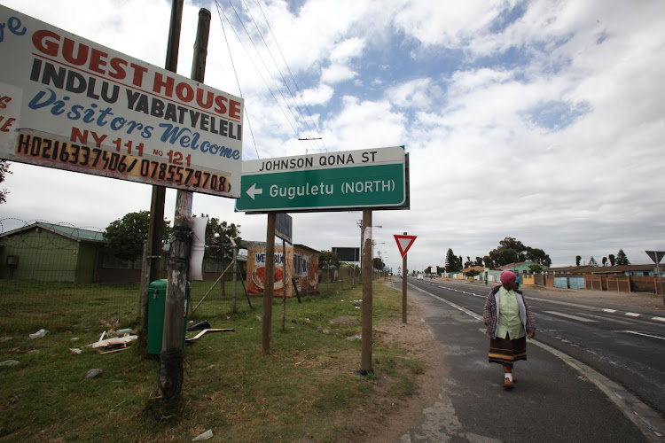 A street sign on the corner of Klipfontein and Johnson Qona streets points the way to Gugulethu township in Cape Town. Picture: THE TIMES
