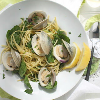 Garlicky Clams with Linguine and Spinach.