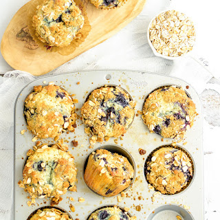 Blueberry Sour Cream Oat Crumble Muffins