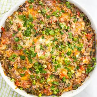 Make-ahead Healthy Sausage Breakfast Casserole.