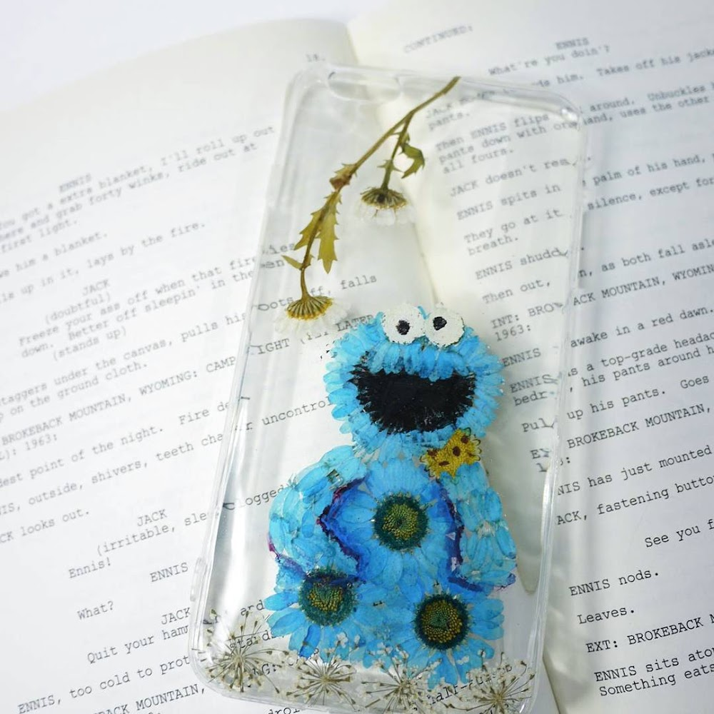 [訂製/custom-made] Cookie Monster Pressed Flower Phone Case