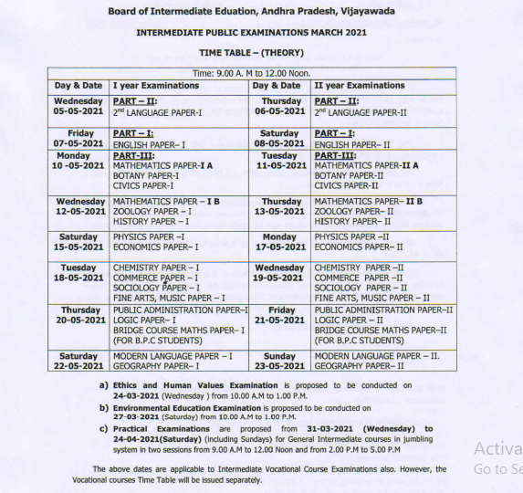 Ap Exam Calendar 2022.Ap Inter Exam Time Table 2021 Out 1st 2nd Yr Download Pdf Here