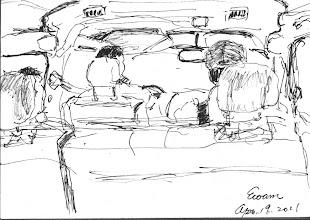 Photo: 車上2011.04.19鋼筆 今天跑了三趟醫院,在車上…我的筆自然停不了…