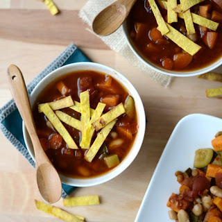 Sweet Potato Lentil Stew with Homemade Limey Crunchy Salty Tortilla Strip Soup Toppers.