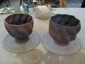 Photo: here is the two large bowls, halved and twisted before I quartered them and made the punch bowl