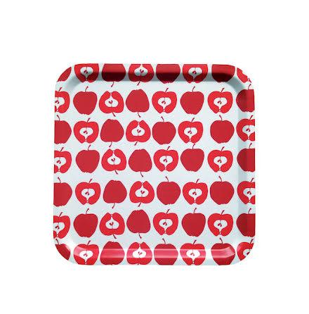 Kvaderatisk bricka med röda äpplen från Sira Form