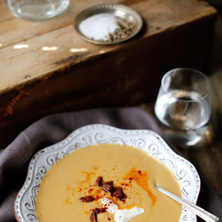 Creamy Brussels Sprouts Soup with Crispy Chorizo