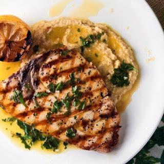 Grilled Swordfish with Chickpea Puree and Salmoriglio Sauce Recipe