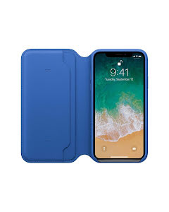 Apple iPhone X Leather Folio Case Electric Blue