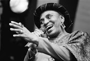 Miriam Makeba, performs at the Africa Festival in Delft, the Netherlands on 4th August 1990.