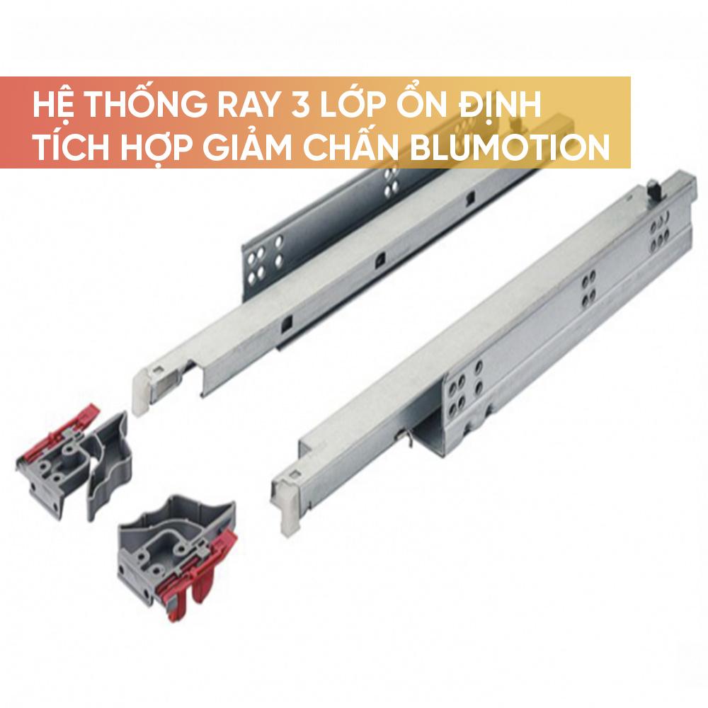 Hệ thống ray trượt 3 lớp ổn định, giảm chấn Blumotion tích hợp sẵn trong ray
