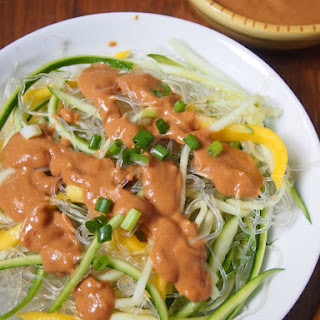 Kelp and Zucchini Noodle Salad with Mango and Peanut Dressing