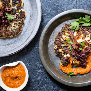 Cauliflower Steaks with Spicy Romesco Sauce and Olives Recipe