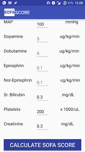 Sepsis Score: SOFA Calculator screenshot