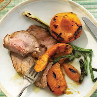 Grilled Apricots and Pork Tenderloin with Honey Glaze