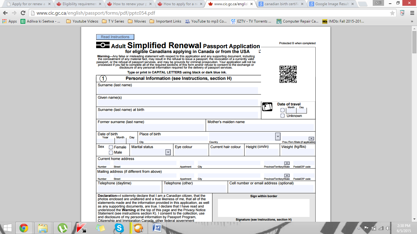 Renew Canadian Passport Form