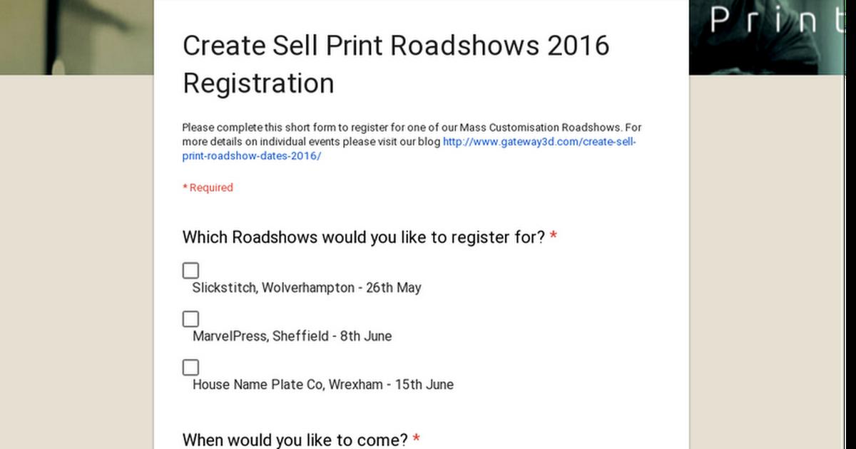 Create Sell Print Roadshows 2016 Registration