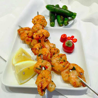 Succulent exotic BBQ-ed prawns.