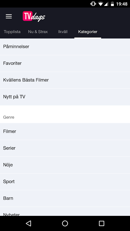 TVdags TV-tablå & TV-guide- screenshot