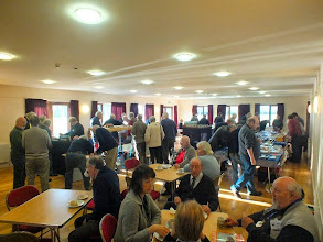 Photo: 001 The cosy atmosphere in the village hall at Ilton. Lots of familiar narrow gauge modelling faces enjoying a friendly and informal day out in Somerset, some of whom have travelled considerable distances to be there .