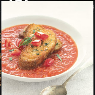 Chilled Tomato-Tarragon Soup with Croutons Recipe