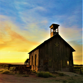 Dawn old schoolhouse by Hal Gonzales - Buildings & Architecture Decaying & Abandoned ( school, wagon, ghost town, cloudscape, dawn,  )