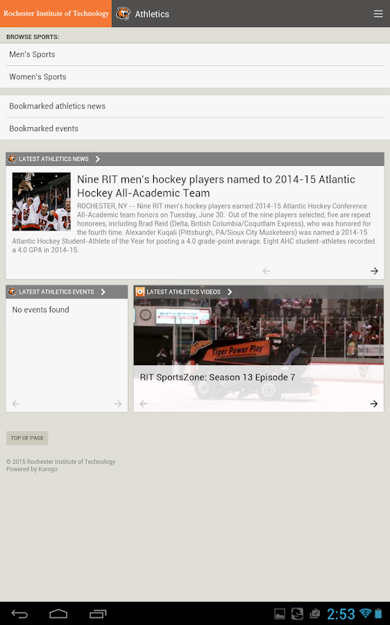 RIT Mobile- screenshot