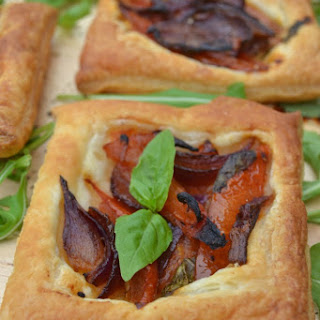 Roasted Red Onion & Tomato Puff Pastry Tartlets