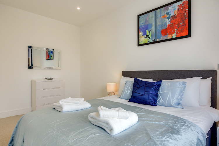 Luxury bedroom at Heathrow Central Apartments