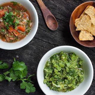 Quick and Fresh Tomato Salsa and Tomatillo Salsa.