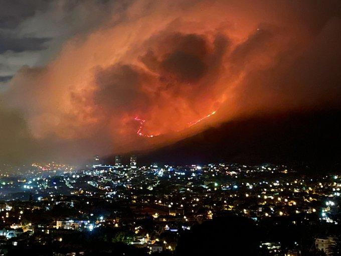 Strong overnight winds fanned the blazes in Cape Town.