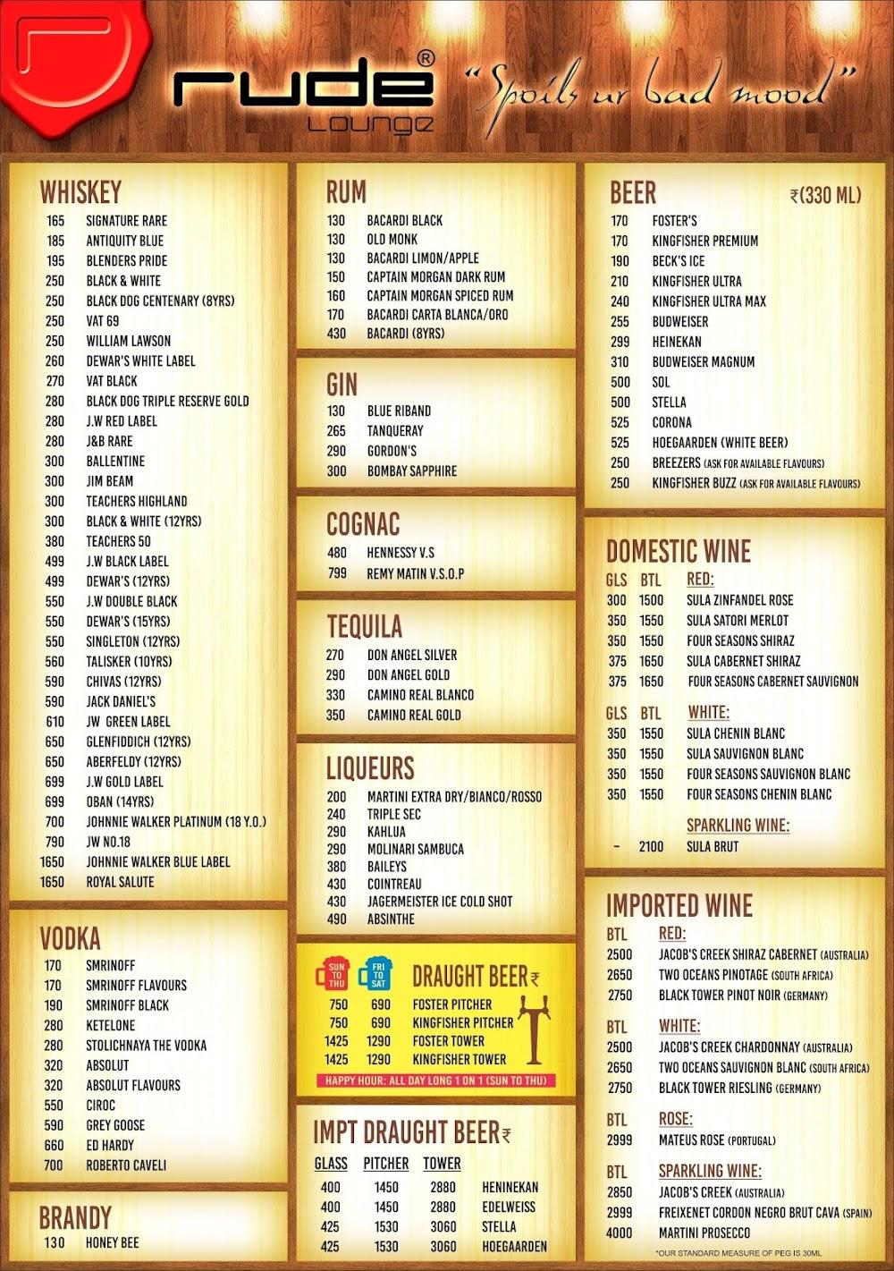 Rude Lounge menu 2