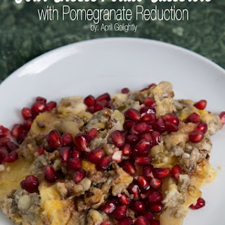 Four Cheese Potato Casserole with Pomegranate Reduction