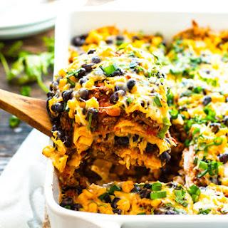 Ground Turkey Mexican Lasagna.
