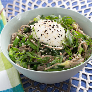 Shiro Miso Soba Noodles with Poached Eggs, Yu Choy & Turnips.