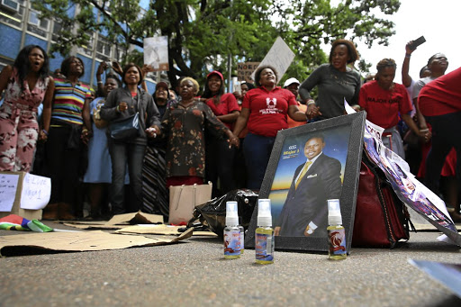 Prophet Shepherd Bushiri's supporters outside the Pretoria Specialised Commercial Crimes Court yesterday, who demanded that he be released.