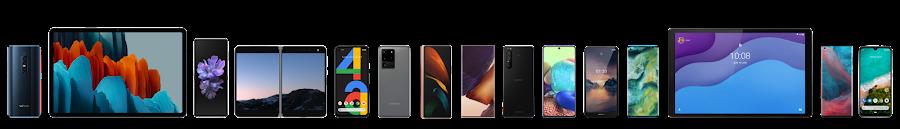 Utvalget av Android-enheter, fra smarttelefoner til nettbrett.