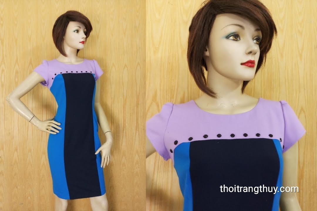 Váy liền bút chì công sở phối 3 màu V611 Thời Trang Thủy