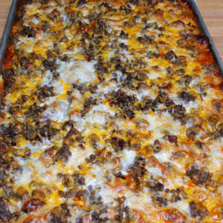 Bacon Cheeseburger Sheet Pan Pizza.