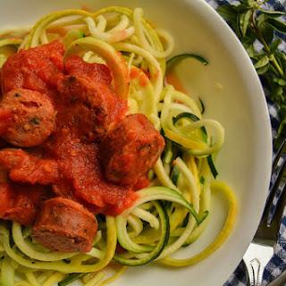 Spiralized Zucchini Noodles with Chunky Sausage Marinara Recipe