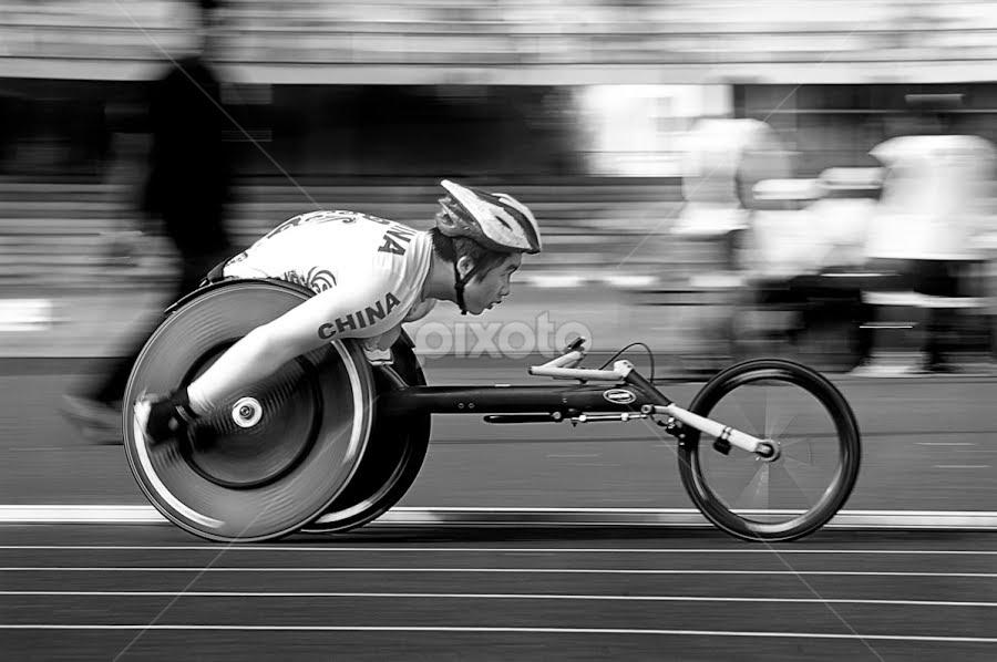 Speeding China / Contemporary China by Niranjan Hosmane - Sports & Fitness Other Sports ( black and white )