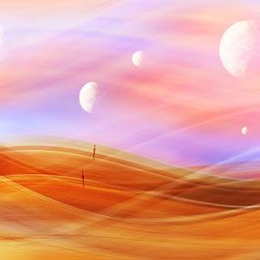 5 Moons by Karen Shivas - Digital Art People ( orange, moons, 5, crosby, beach, men )