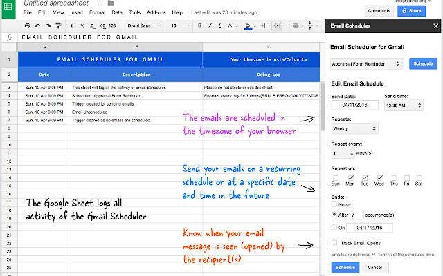 Email scheduler google sheets add on pronofoot35fo Gallery