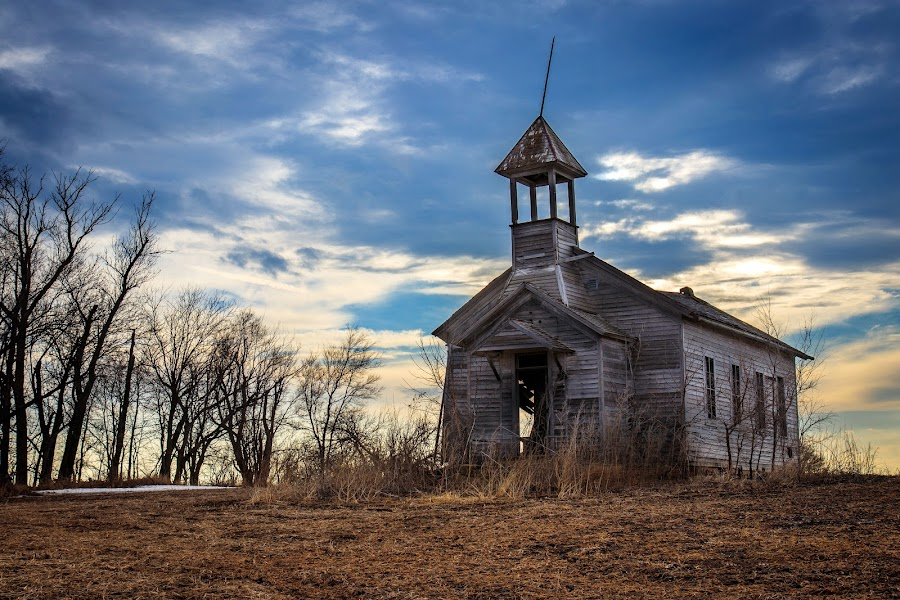 Abandonded church by Eric Wellman - Buildings & Architecture Decaying & Abandoned ( clouds, school, church, abandoned )