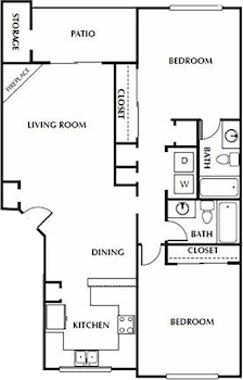 Go to Two Bed, Two Bath Floorplan page.
