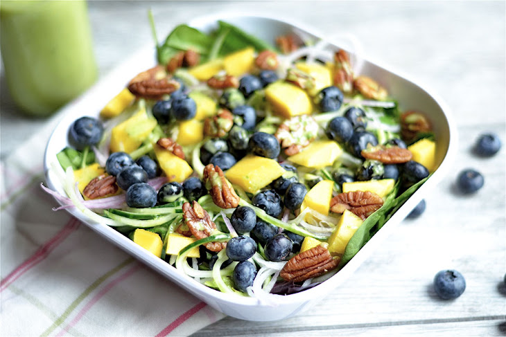Blueberry and Mango Spinach Salad with Basil Vinaigrette Recipe