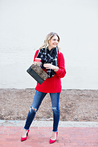 Photo: What I Wore - Red, black and white winter look. Get the details ->> http://bit.ly/2goKyJZ