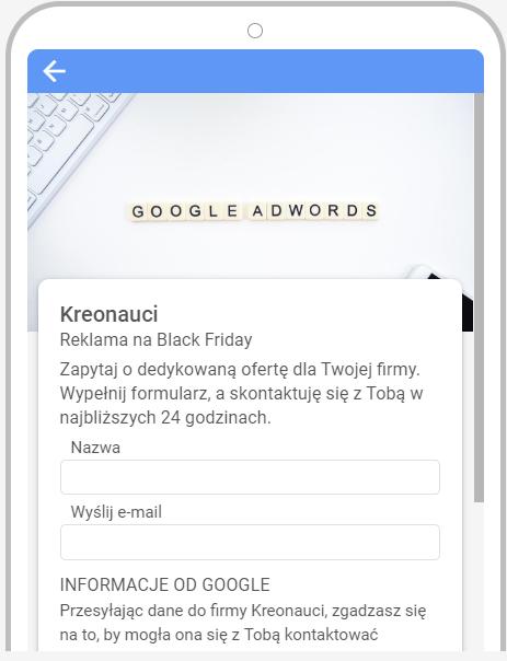 Opis: Zdjęcie z interfejsu Google Ads. Przykładowy formularz.